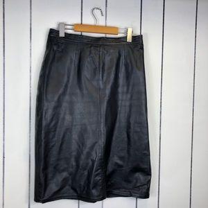 Vintage High Waisted Black Leather Skirt Sz 30
